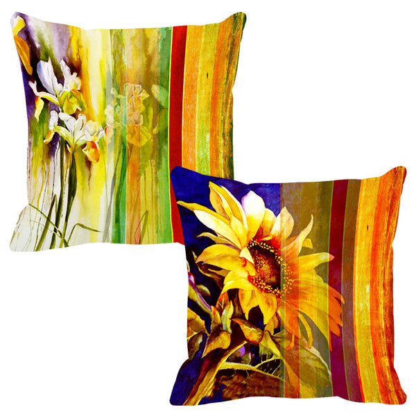 Leaf Designs Sunlight Yellow Stripe Cushion Cover - Set Of 2