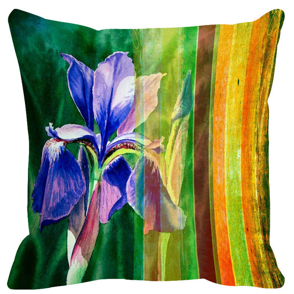 Leaf Designs Orange & Green Stripes Cushion Cover
