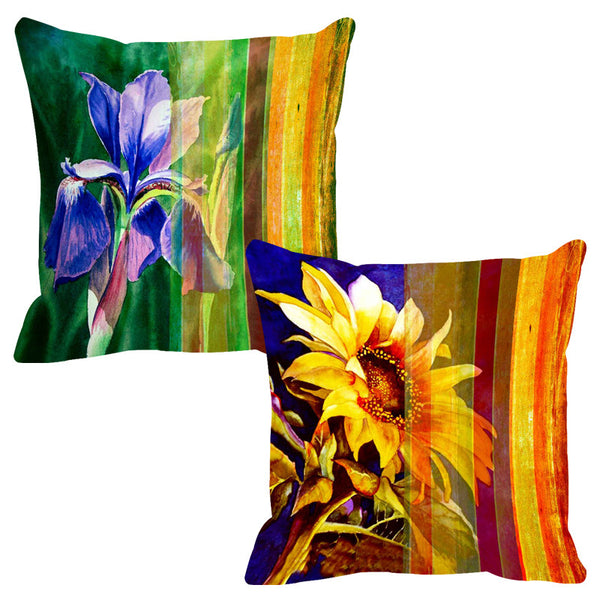 Leaf Designs Brilliant Yellow Stripe Cushion Cover - Set Of 2