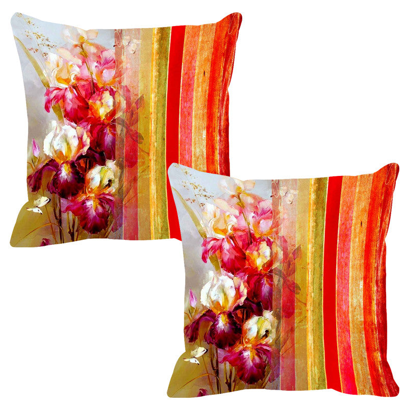 Leaf Designs Orange & Red Stripe Cushion Cover - Set Of 2