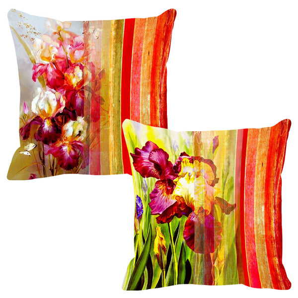 Leaf Designs Dull Red Stripe Cushion Cover - Set Of 2