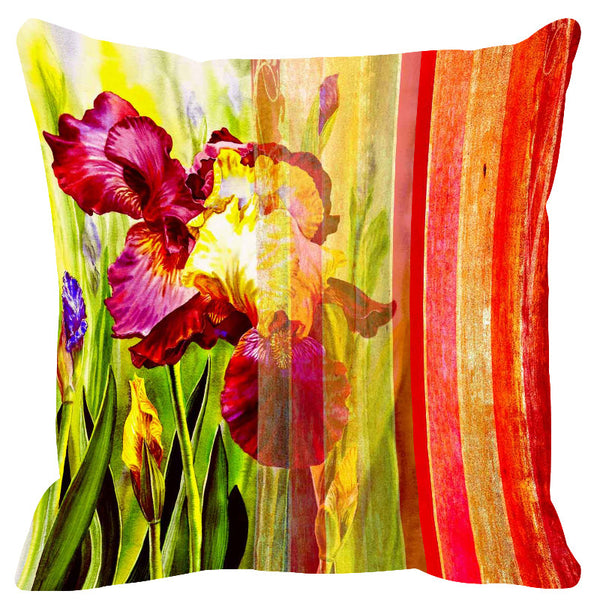 Leaf Designs Red & Orange Stripes Cushion Cover