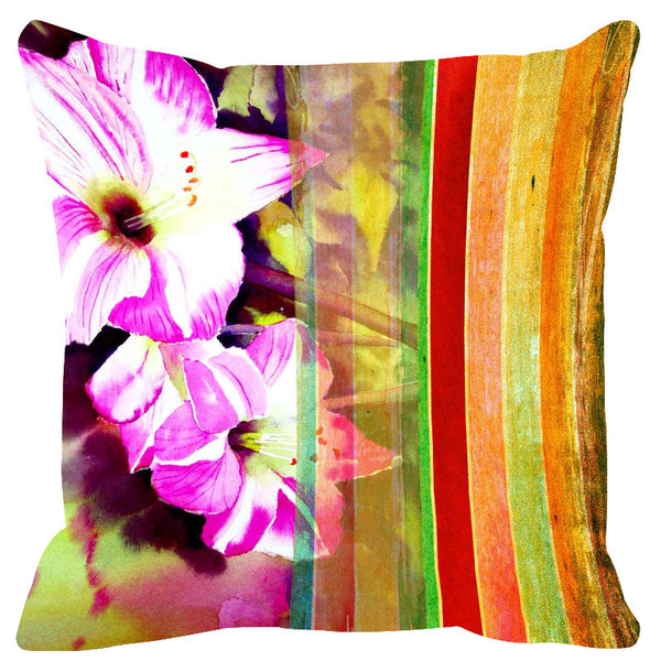 Leaf Designs Yellow & Maroon Stripes Cushion Cover