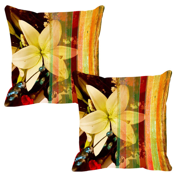 Leaf Designs Ochre Stripe Cushion Cover - Set Of 2