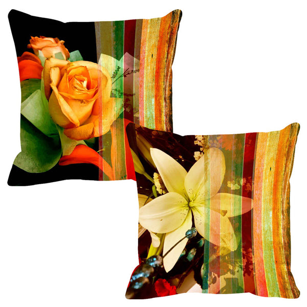 Leaf Designs Mixed Yellow Stripe Cushion Cover - Set Of 2