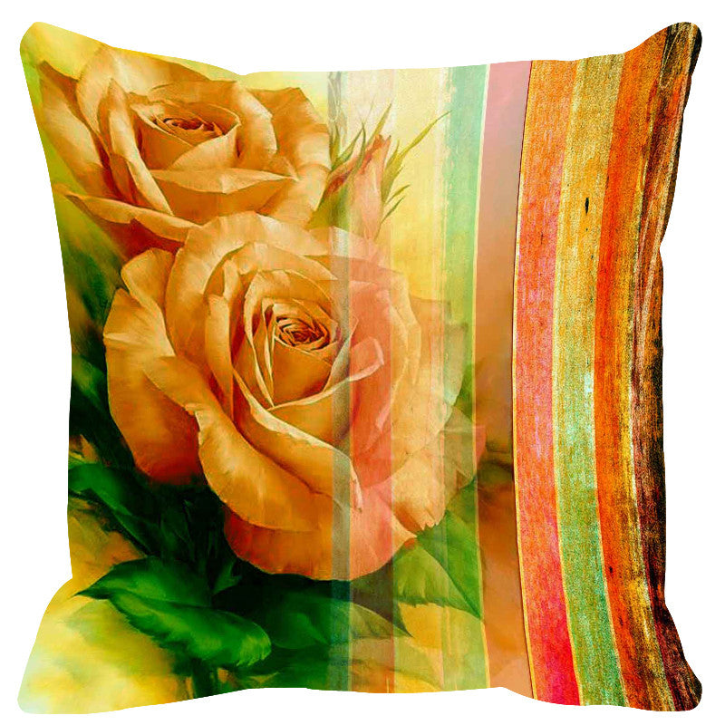 Leaf Designs Showy Yellow Stripe Cushion Cover - Set Of 2