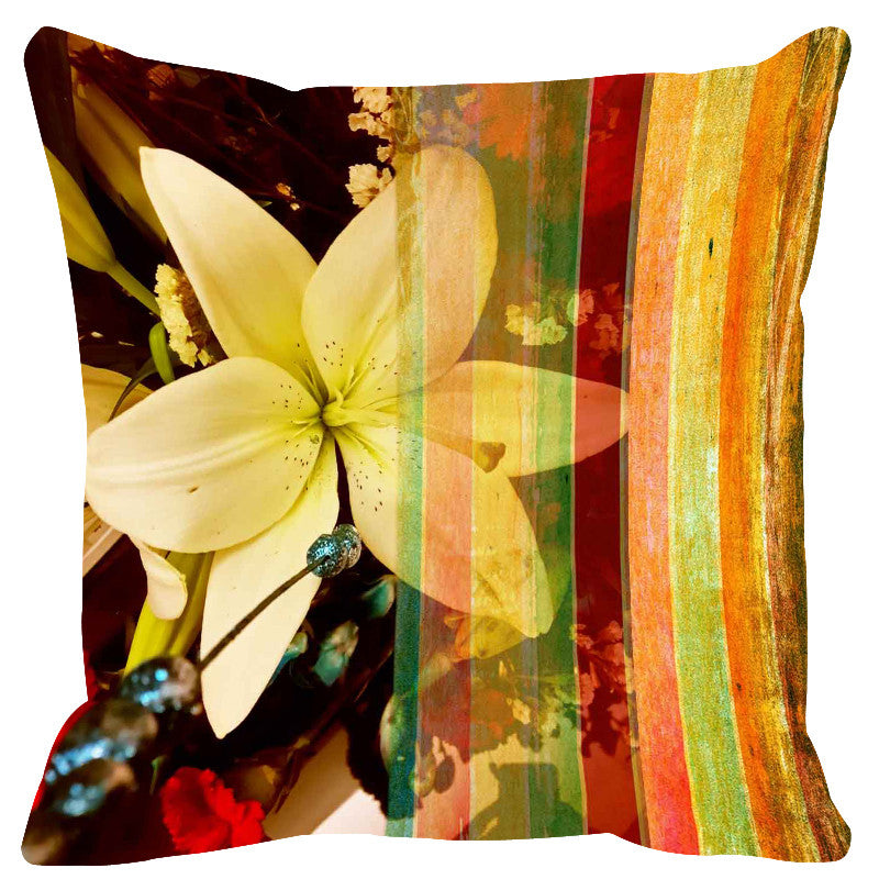 Leaf Designs Glittering Yellow Stripe Cushion Cover - Set Of 2