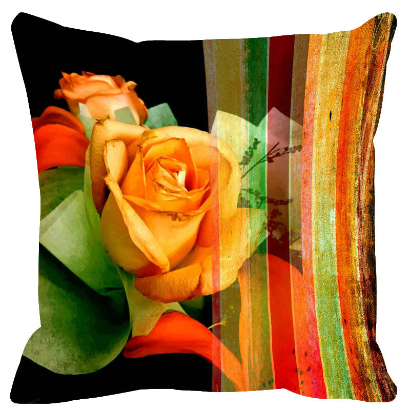 Leaf Designs Brown & Yellow Stripes Cushion Cover