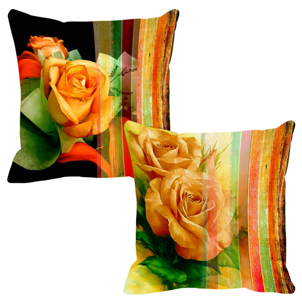 Leaf Designs Intense Yellow Stripe Cushion Cover - Set Of 2