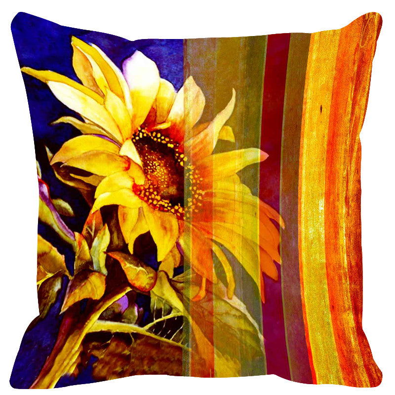 Leaf Designs Sunshine Yellow Stripes Cushion Cover