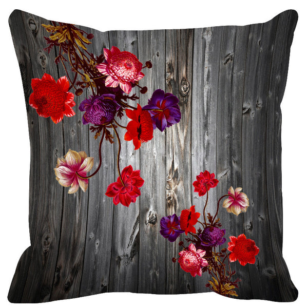 Leaf Designs Grey & Purple Cushion Cover