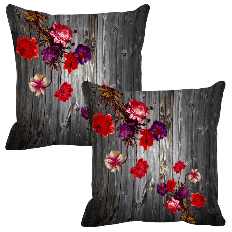 Leaf Designs Grey & Purple Wood Design Cushion Cover - Set Of 2