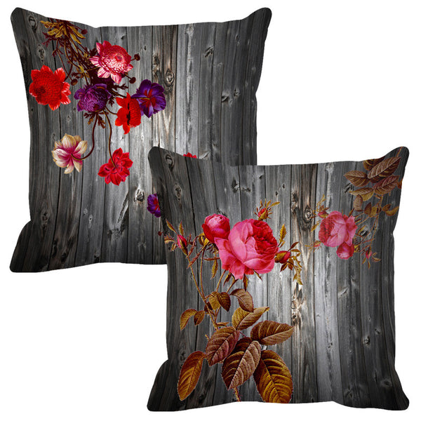 Leaf Designs Grey & Rose Pink Wood Design Cushion Cover - Set Of 2