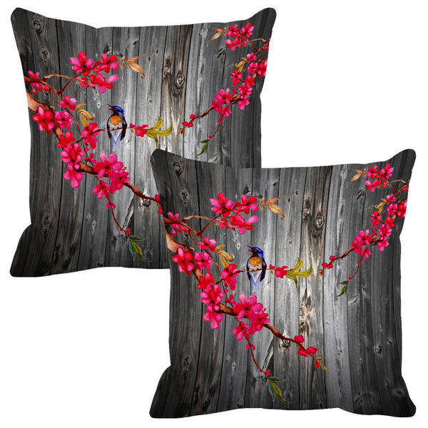 Leaf Designs Grey & Pink Wood Design Cushion Cover - Set Of 2