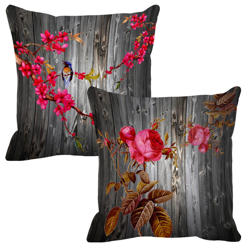 Leaf Designs Grey Ochre & Pink Wood Design Cushion Cover - Set Of 2