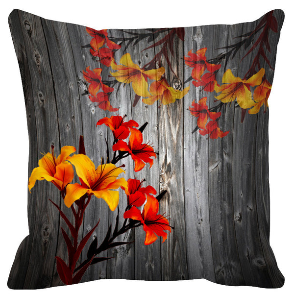 Leaf Designs Grey & Yellow Cushion Cover