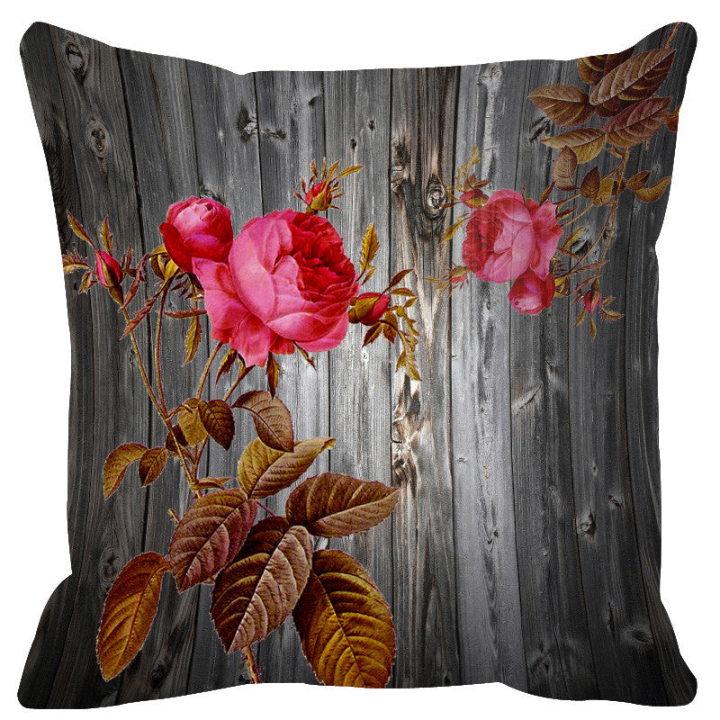 Leaf Designs Grey & Light Pink Wood Design Cushion Cover - Set Of 2