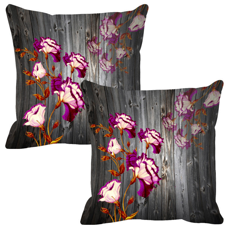 Leaf Designs Grey & White Wood Design Cushion Cover - Set Of 2