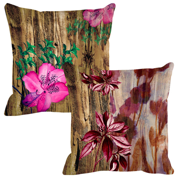 Leaf Designs Natural Coke & Pink Wood Design Cushion Cover - Set Of 2