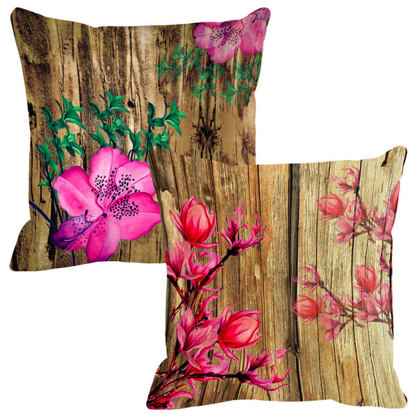 Leaf Designs Natural Pink & Green Wood Design Cushion Cover - Set Of 2