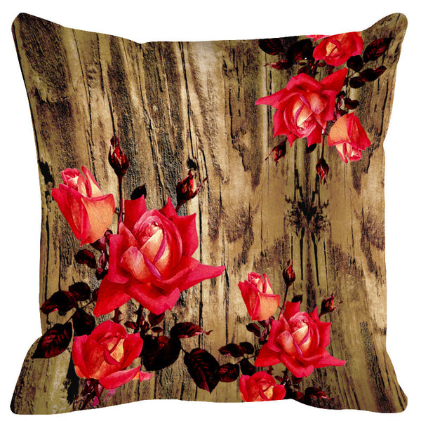 Leaf Designs Natural & Red Wood Design Cushion Cover - Set Of 2