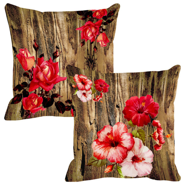Leaf Designs Natural Reds Wood Design Cushion Cover - Set Of 2