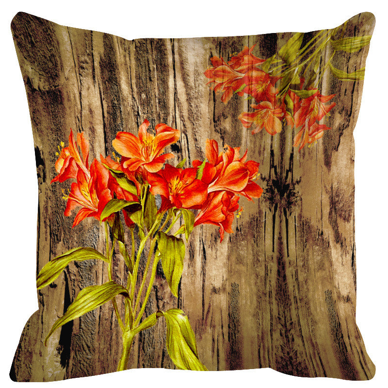 Leaf Designs Natural & Orange Cushion Cover