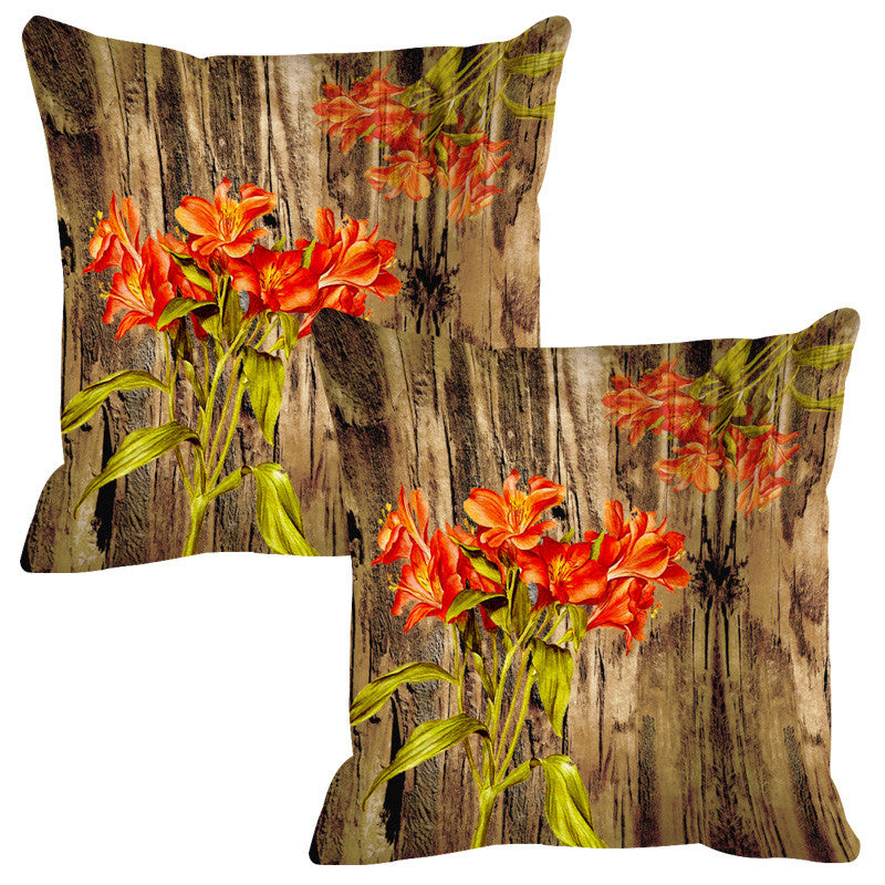 Leaf Designs Natural & Orange Wood Design Cushion Cover - Set Of 2