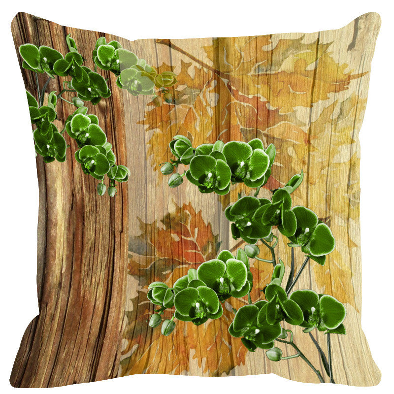 Leaf Designs Natural Orange & Green Wood Design Cushion Cover - Set Of 2