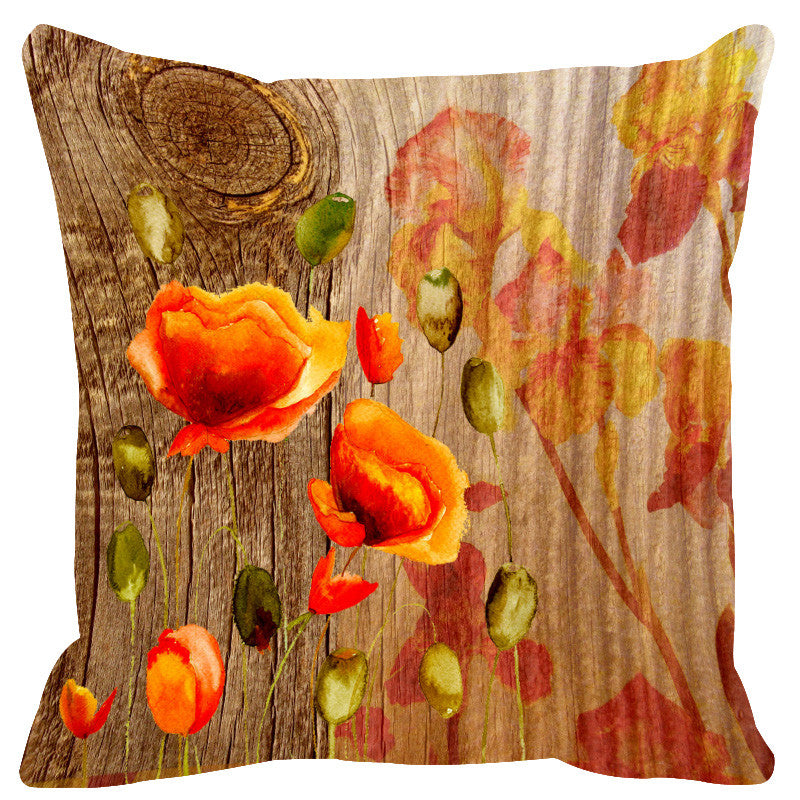 Leaf Designs Natural Yellow & Orange Wood Design Cushion Cover - Set Of 2