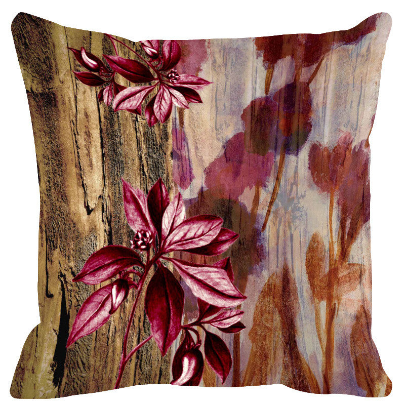 Leaf Designs Natural & Wine Cushion Cover