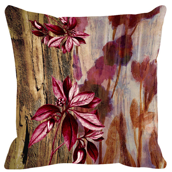 Leaf Designs Natural & Wine Wood Design Cushion Cover - Set Of 2