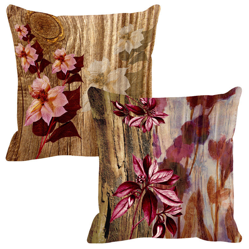 Leaf Designs Natural Ivory & Coke Wood Design Cushion Cover - Set Of 2