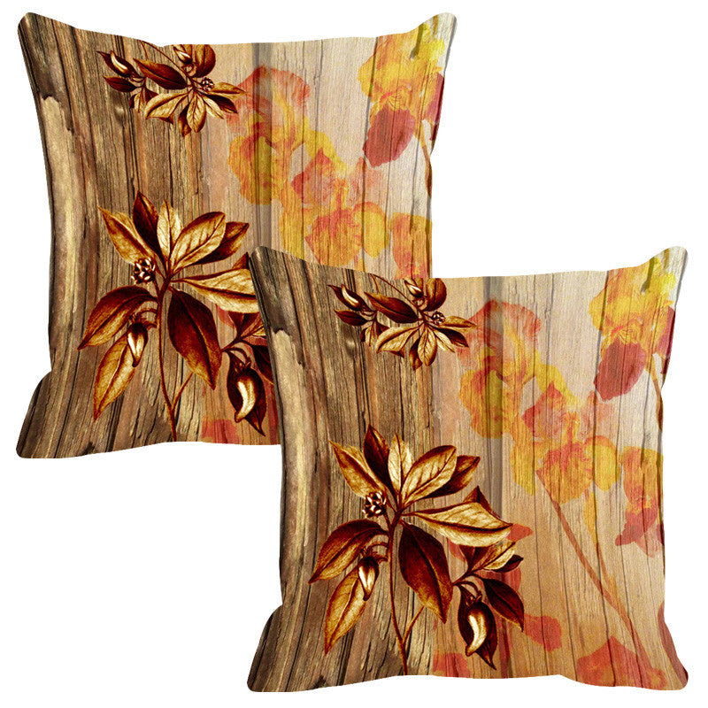 Leaf Designs Natural & Ochre Wood Design Cushion Cover - Set Of 2