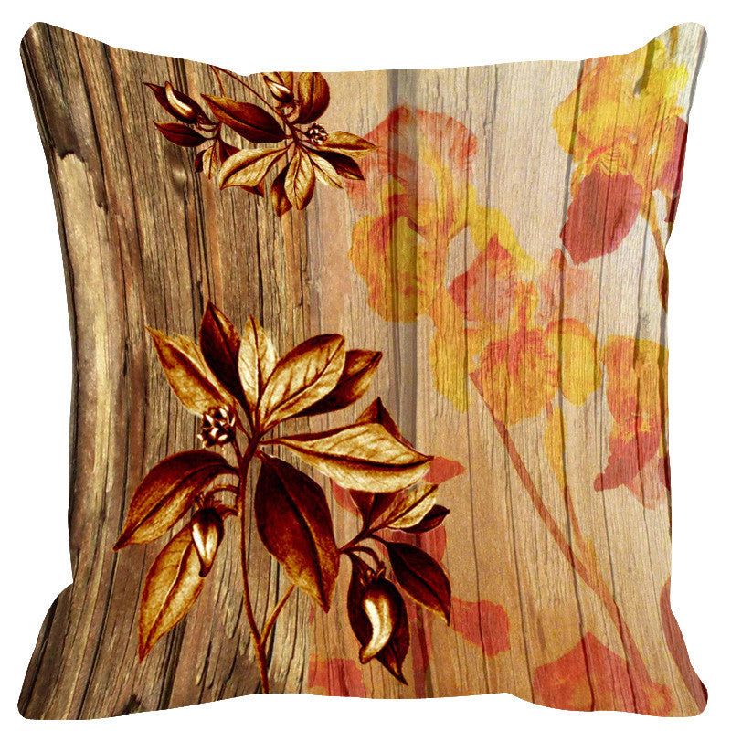 Leaf Designs Natural Ochre & Brown Wood Design Cushion Cover - Set Of 2