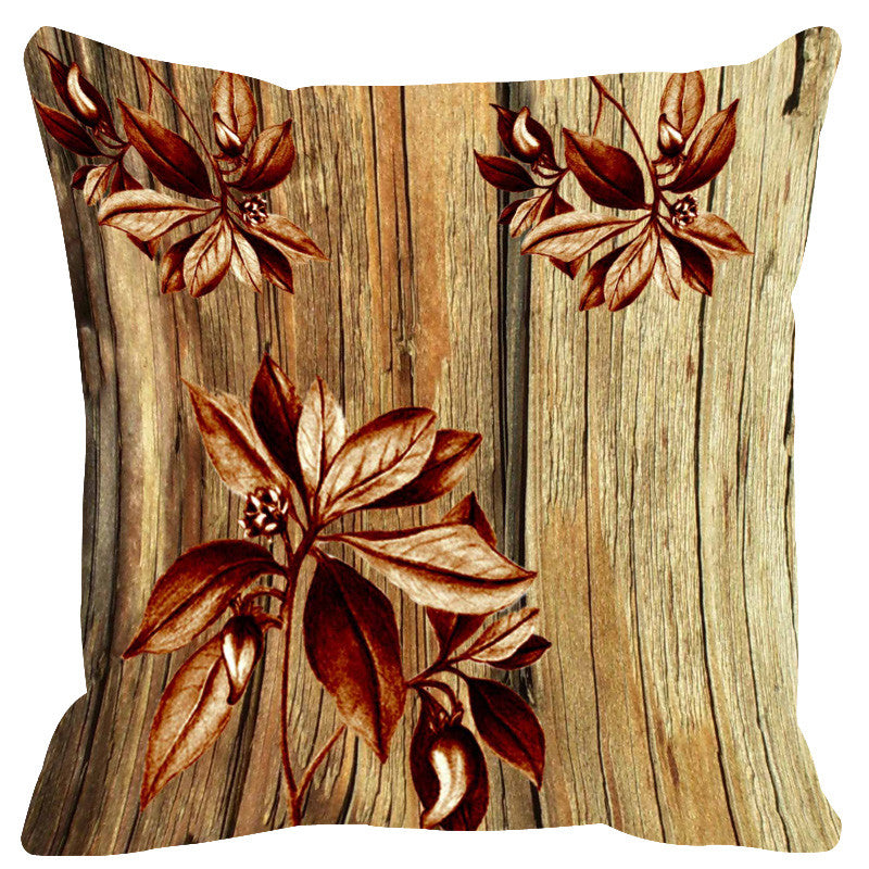 Leaf Designs Natural & Brown Cushion Cover