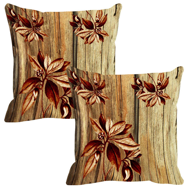 Leaf Designs Natural & Brown Wood Design Cushion Cover - Set Of 2