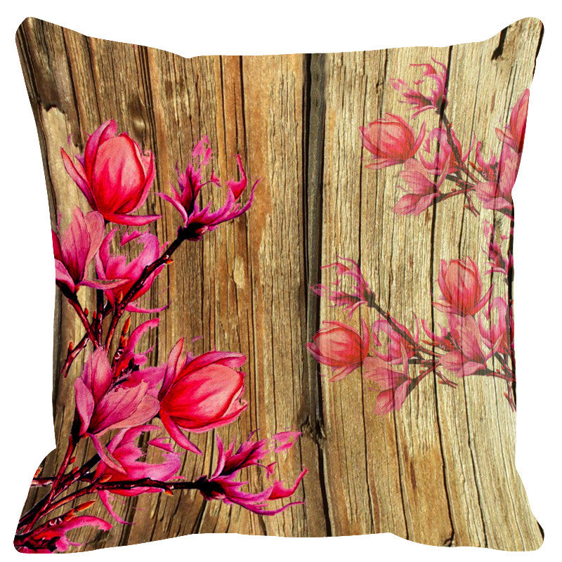 Leaf Designs Natural & Bright Pink Wood Design Cushion Cover - Set Of 2