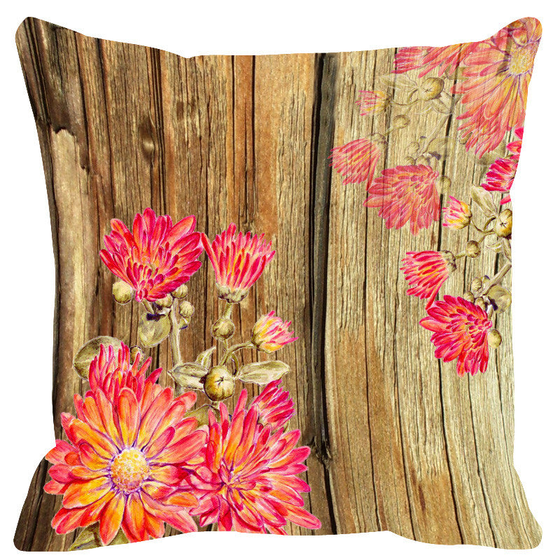 Leaf Designs Natural Pink & Deep Peach Wood Design Cushion Cover - Set Of 2