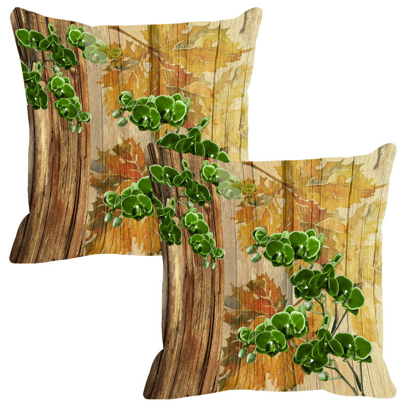 Leaf Designs Natural & Green Wood Design Cushion Cover - Set Of 2