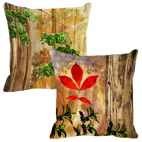 Leaf Designs Natural Red & Bright Green Wood Design Cushion Cover - Set Of 2
