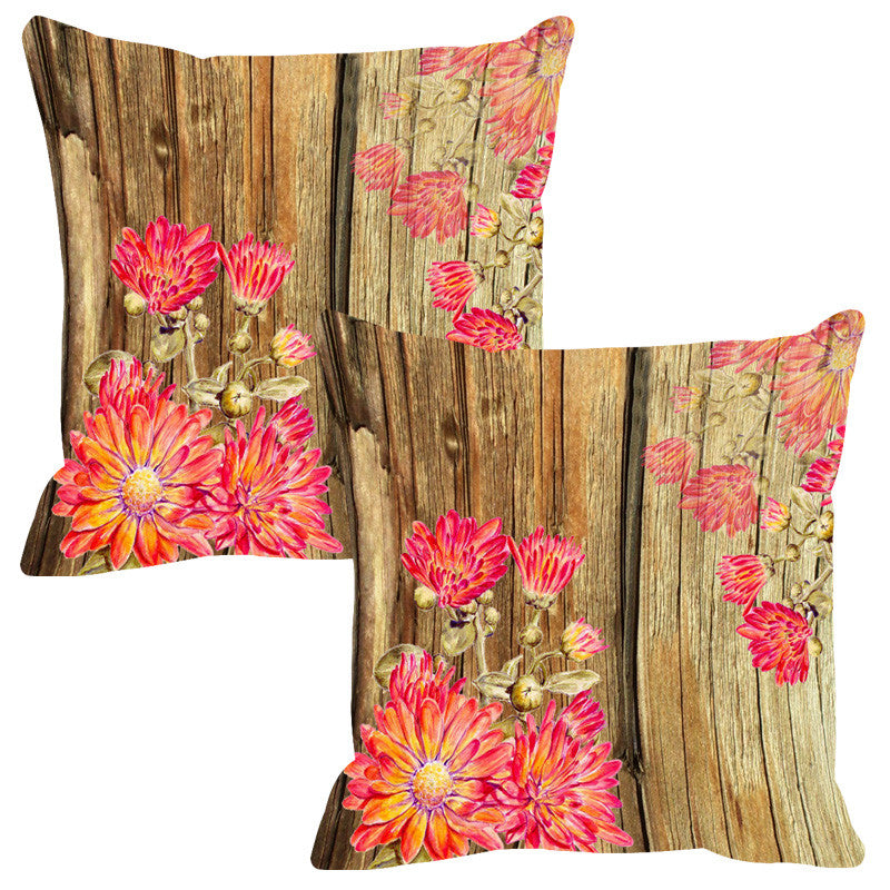Leaf Designs Natural & Peach Pink Wood Design Cushion Cover - Set Of 2