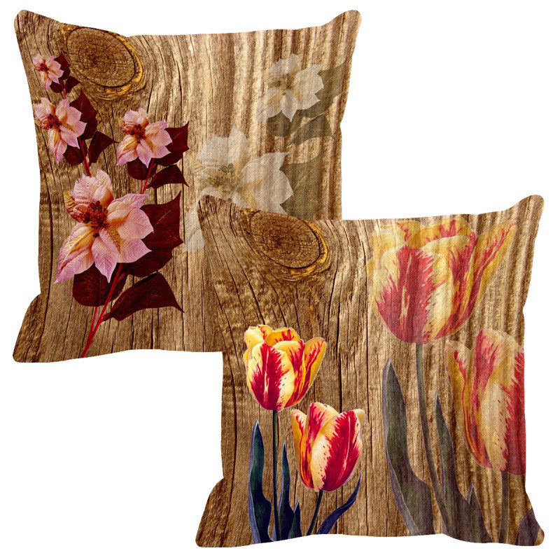 Leaf Designs Natural Yellow & Pale Pink Wood Design Cushion Cover - Set Of 2