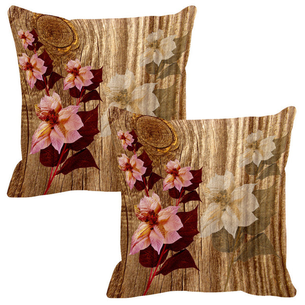 Leaf Designs Natural & Cream Wood Design Cushion Cover - Set Of 2