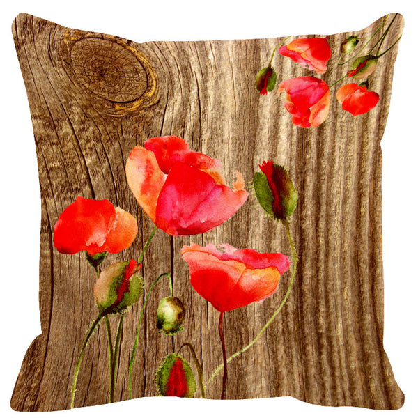 Leaf Designs Natural & Vermillion Wood Design Cushion Cover - Set Of 2