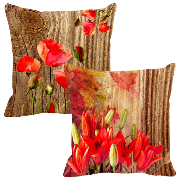 Leaf Designs Natural Vermillion & Green Wood Design Cushion Cover - Set Of 2