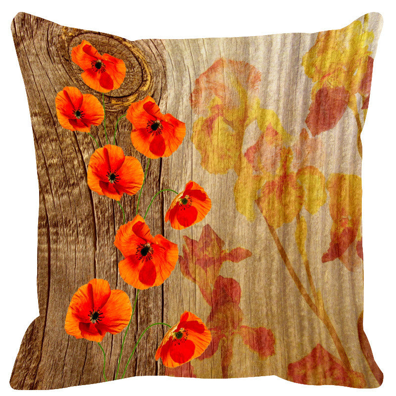 Leaf Designs Natural Orange & Yellow Wood Design Cushion Cover - Set Of 2