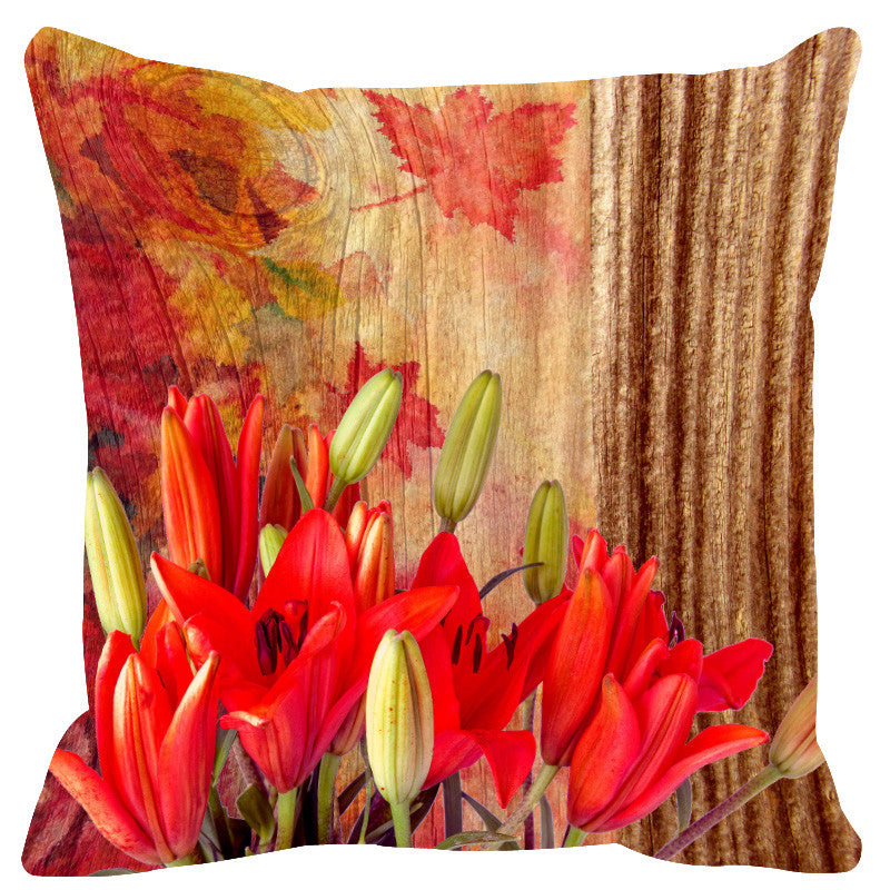 Leaf Designs Natural Green & Red Wood Design Cushion Cover - Set Of 2