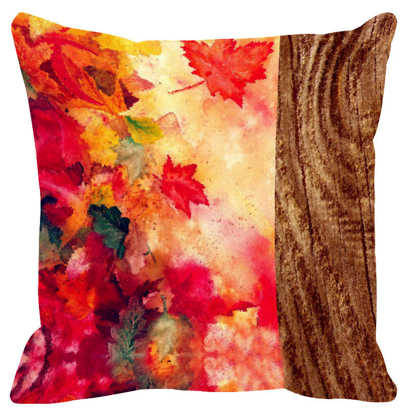 Leaf Designs Natural Yellow & Brown Wood Design Cushion Cover - Set Of 2