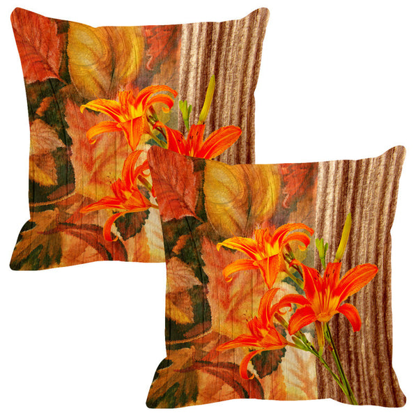 Leaf Designs Natural Dark Green Wood Design Cushion Cover - Set Of 2